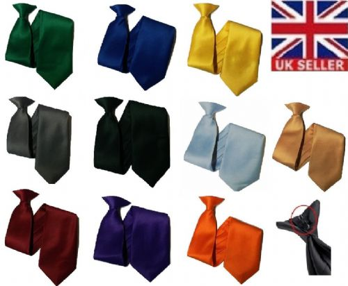Plain clip on Workwear Tie Security Ties and Safety wedding party prom